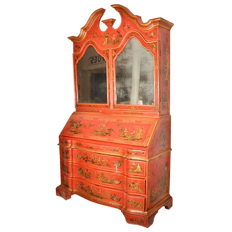 George III Style Red Japanned Secretary, with mirrored doors For Sale