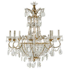 Italian Vintage Eight-Light Crystal Empire Style Chandelier