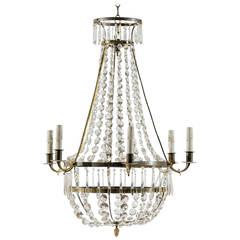 Swedish Six-Light Crystal Chandelier
