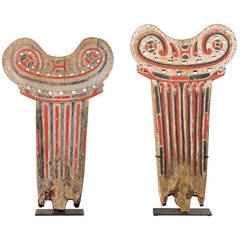 Pair of Decorative Painted Wood Splash Boards on Stands from Papua New Guinea