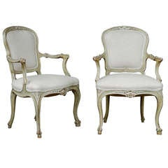 Exquisite Pair of Italian 1920s Chairs with Traces of Silver Gilt
