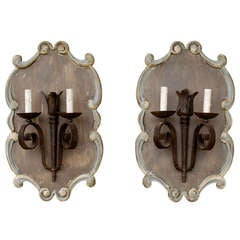 French Iron Sconces on Wood Plaques