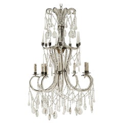 Italian Eight-Light Crystal Chandelier with Elegant Crystal Waterfall Top