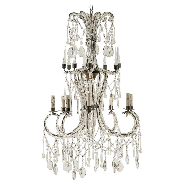Italian Eight-Light Crystal Chandelier with Elegant Crystal Waterfall Top  For Sale