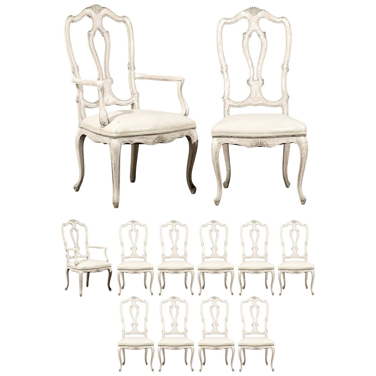 Set of 12 italian style painted wood dining chairs with for Wood dining chairs with leather seats