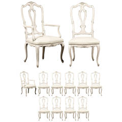 Set of 12 Italian Style Painted Wood Dining Chairs with Leather Seats