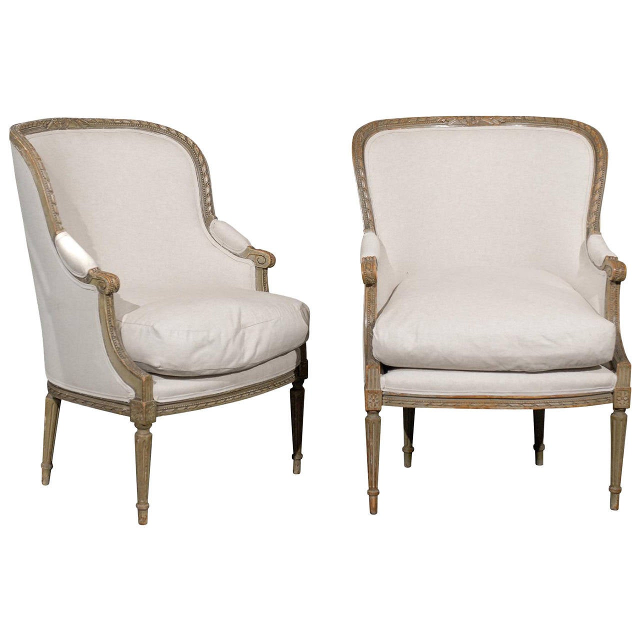 Pair of French 19th Century Louis XVI Style Bergères Chairs 1