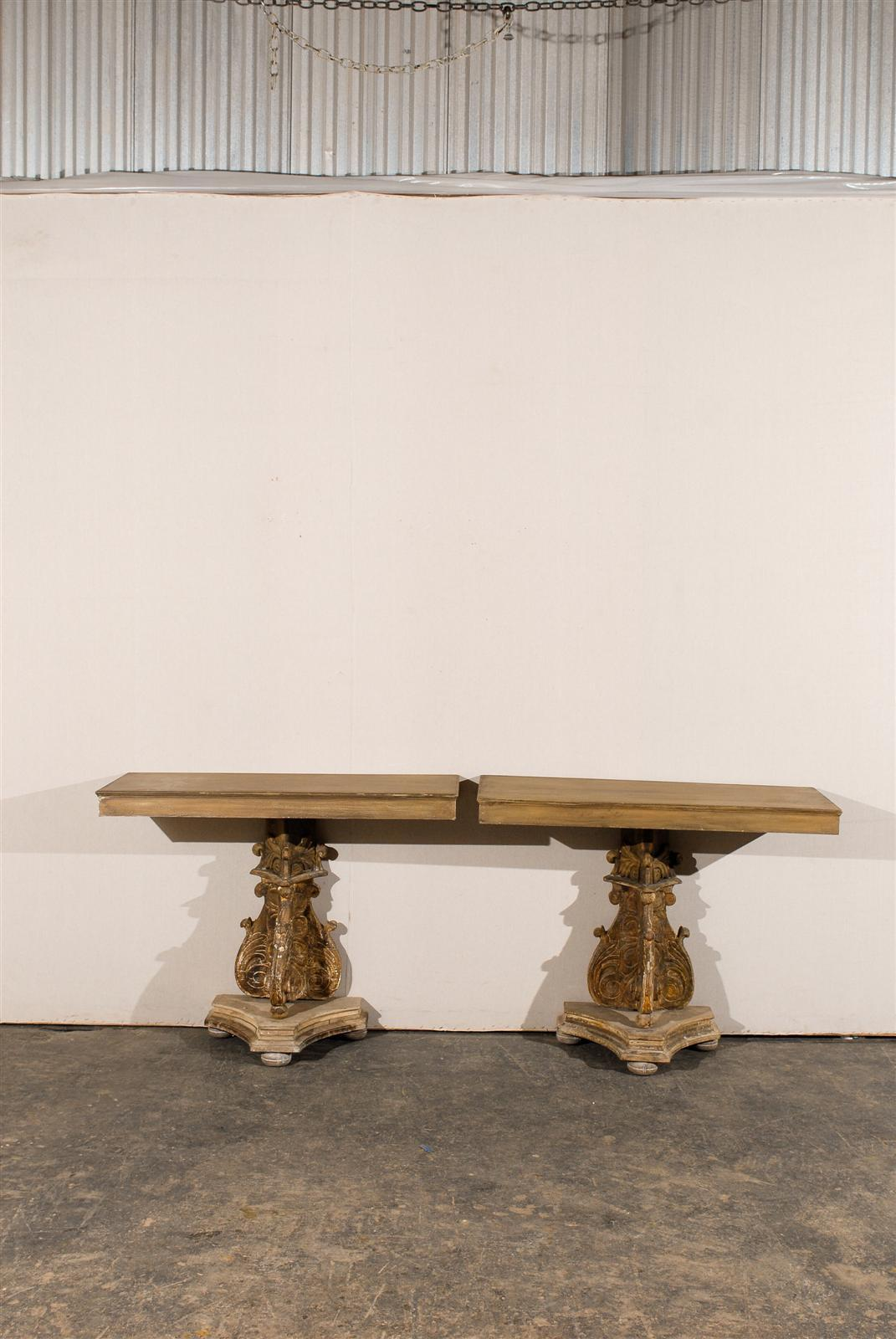 19th Century Italian Richly Carved Wood Console Table For Sale 1