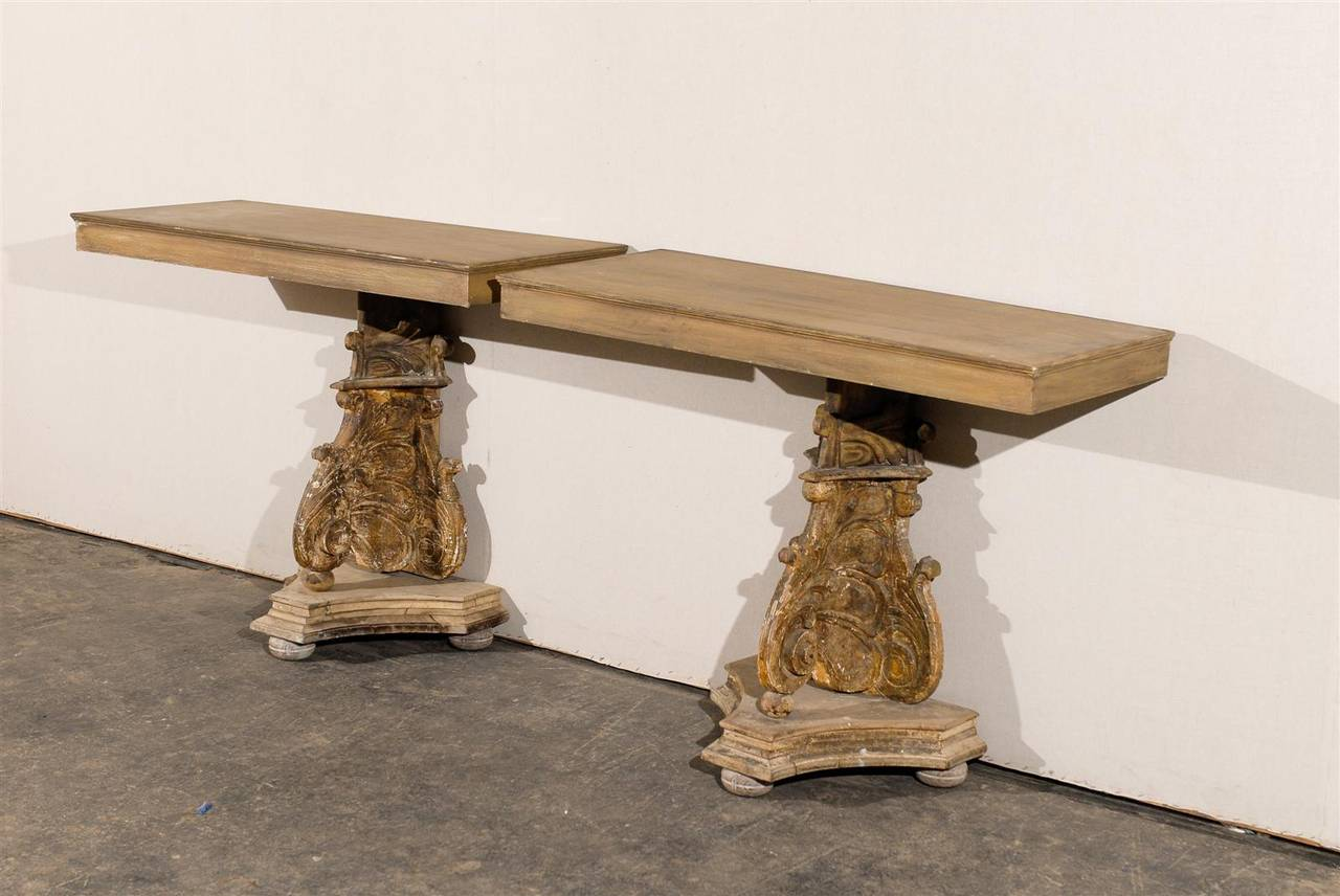 19th Century Italian Richly Carved Wood Console Table For Sale 3
