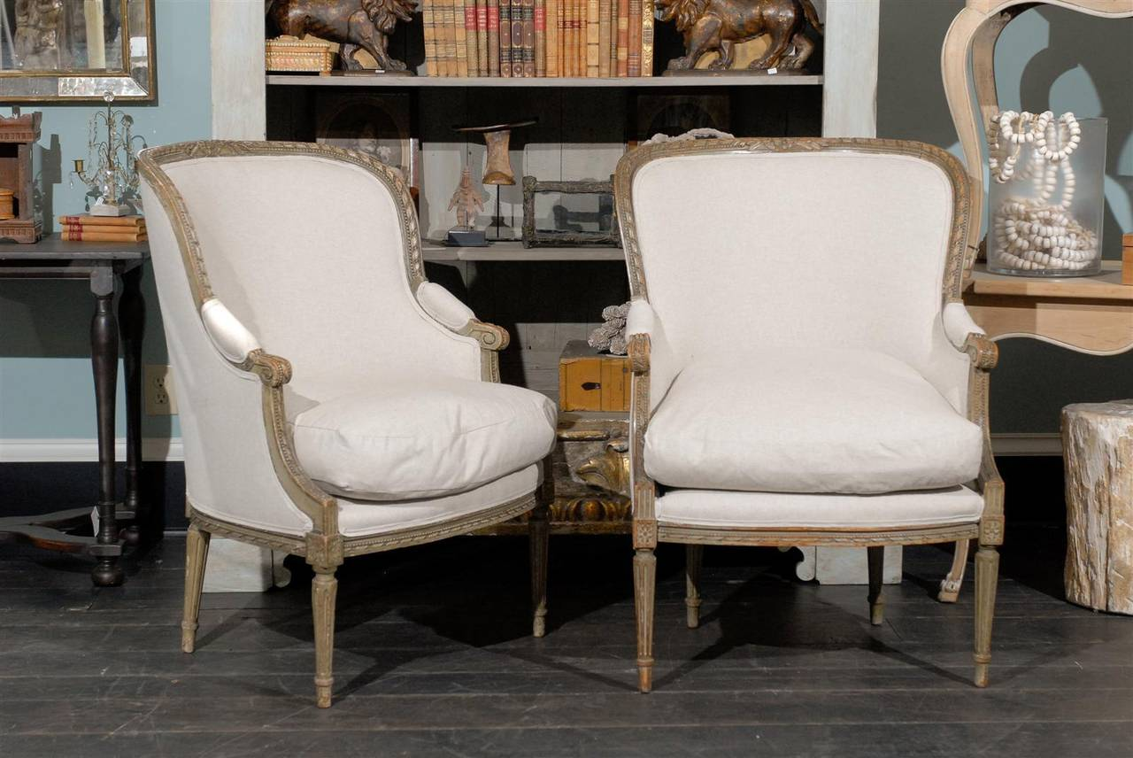 Pair of French 19th Century Louis XVI Style Bergères Chairs 2