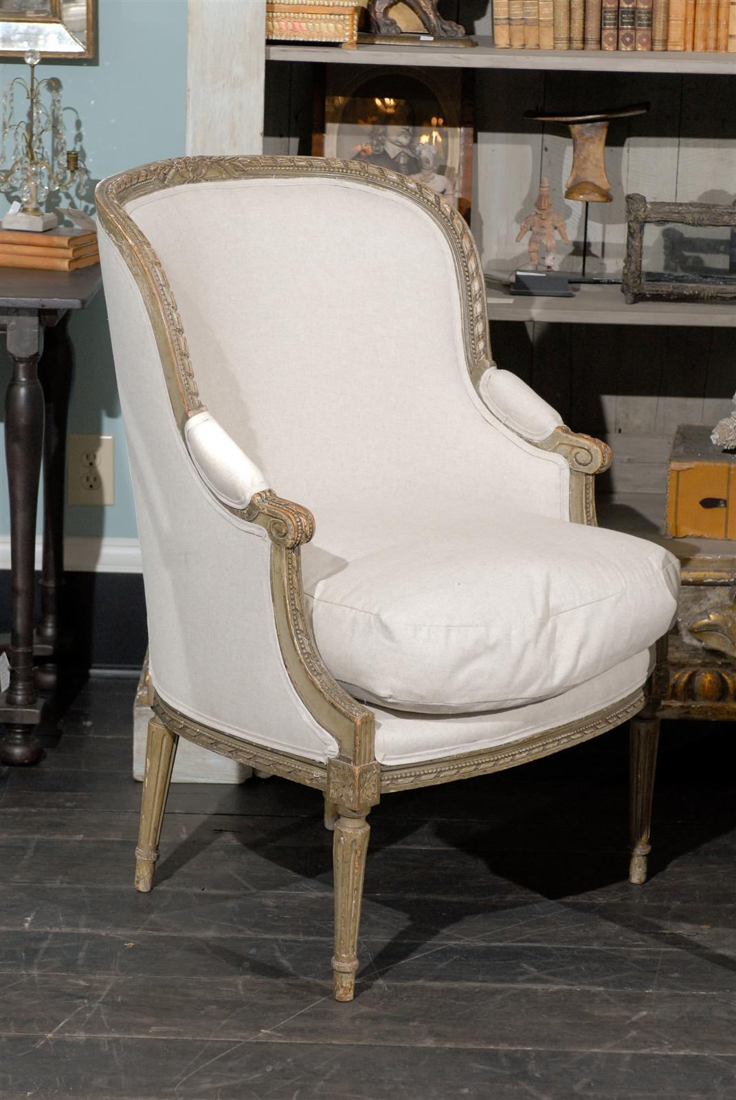 Pair of French 19th Century Louis XVI Style Bergères Chairs 4