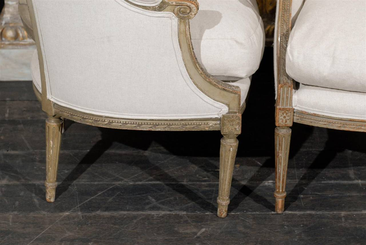 Pair of French 19th Century Louis XVI Style Bergères Chairs 6