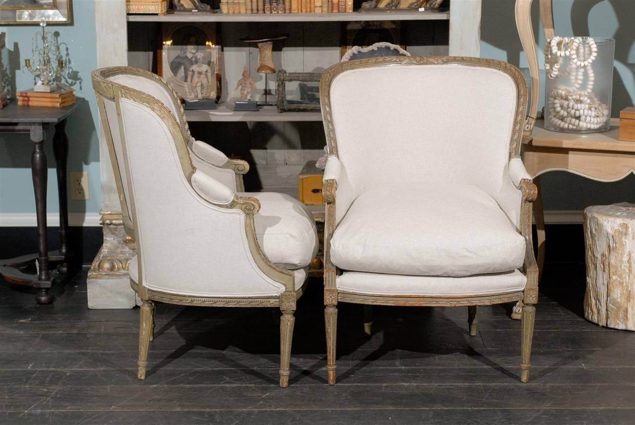 Pair of French 19th Century Louis XVI Style Bergères Chairs 8
