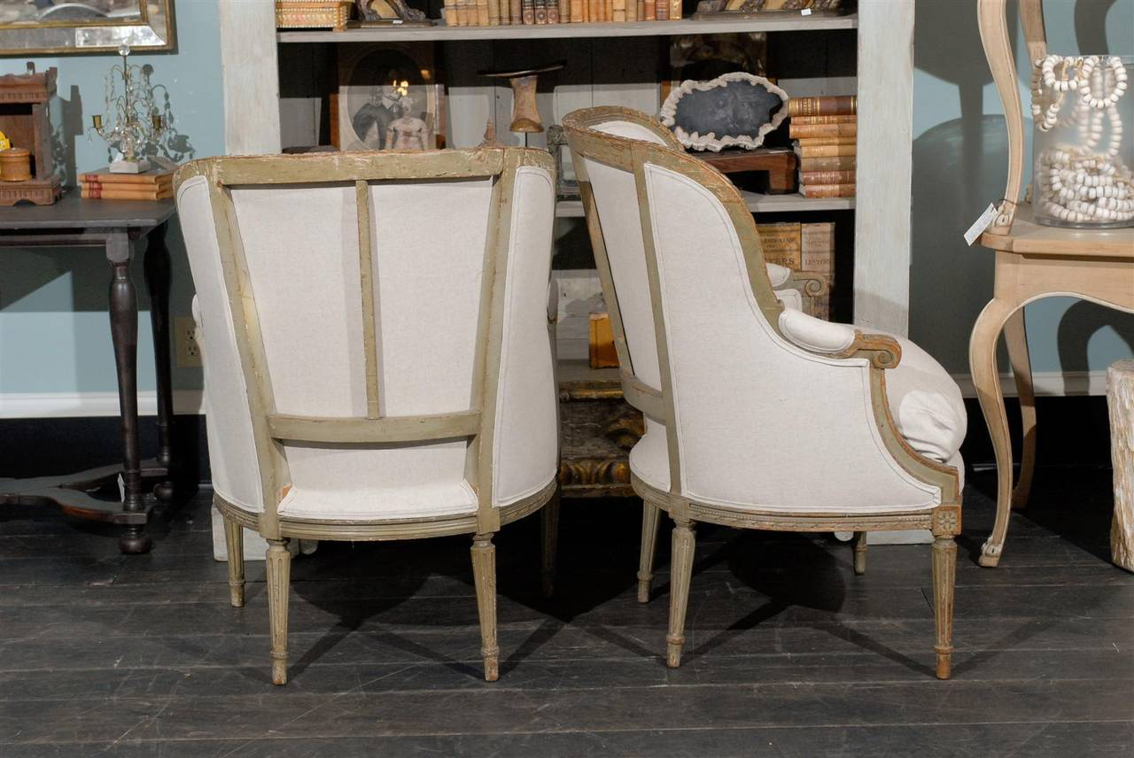 Pair of French 19th Century Louis XVI Style Bergères Chairs 9