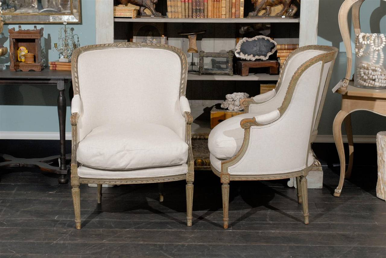 Pair of French 19th Century Louis XVI Style Bergères Chairs 10