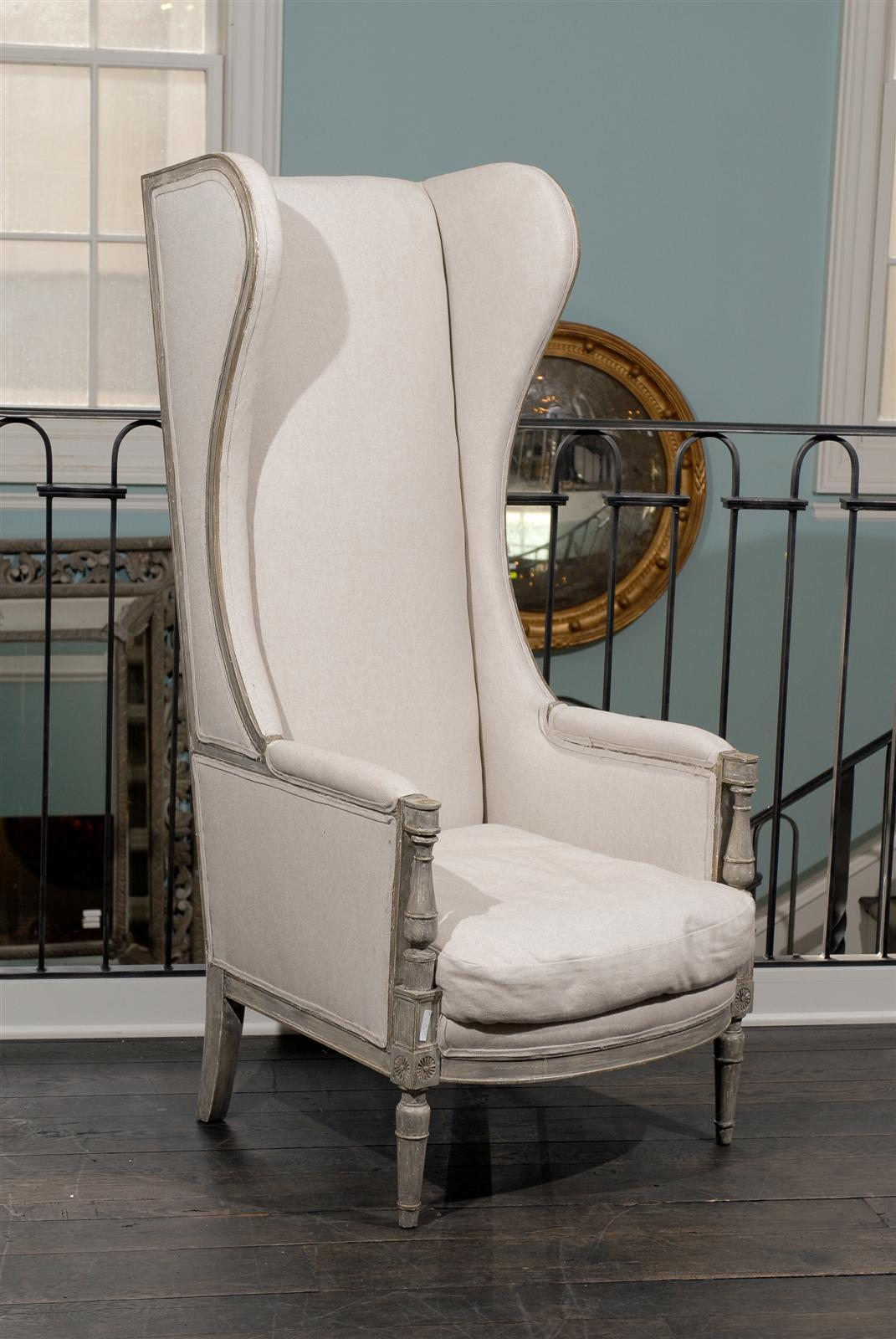American Upholstered Painted Wood High Back Wing Chair at