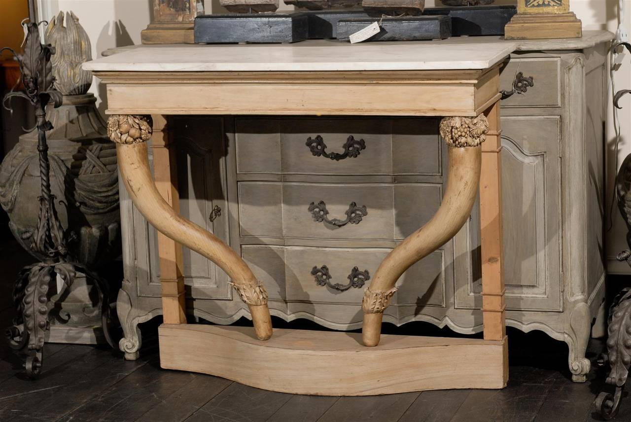 Custom White Stone Table : White Carrara Marble-Top Carved Wood Console Table For Sale at 1stdibs