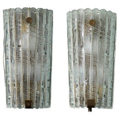 Pair of Swedish Vintage Orrefors Glass Sconces, circa 1940