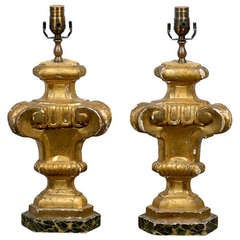 Pair of 19th Century European Antique Gilded Wood Table Lamps