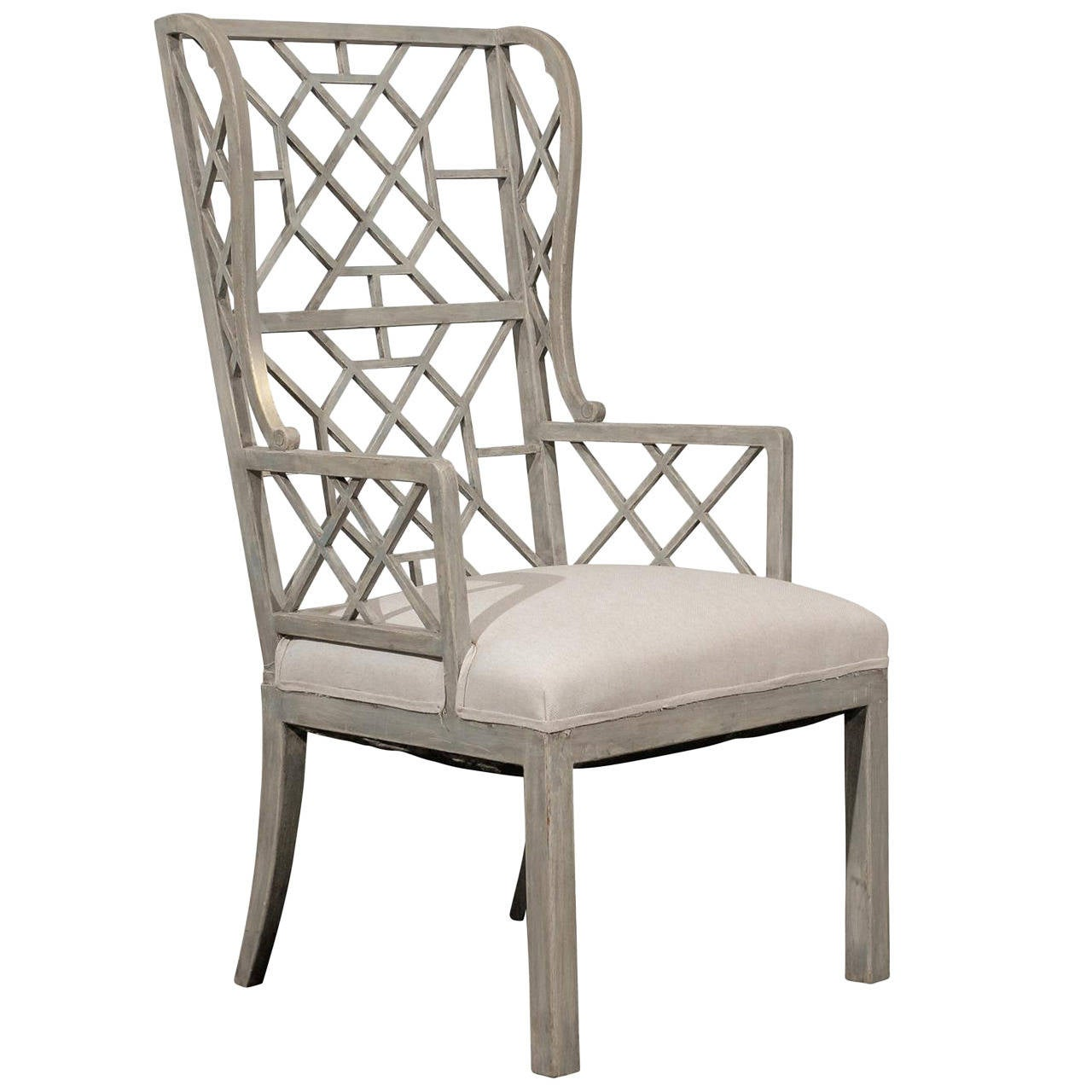 Chinese Chippendale Light Grey Or Blue Painted Wood High Back Chair At 1stdibs