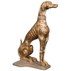 Gilded Wood Italian Greyhound Dog
