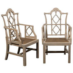 Pair of Vintage Chinese Chippendale Style Wood Armchairs with Cane Seats