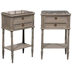 Pair of French Painted Wood Nightstand Tables with Red Marble Tops