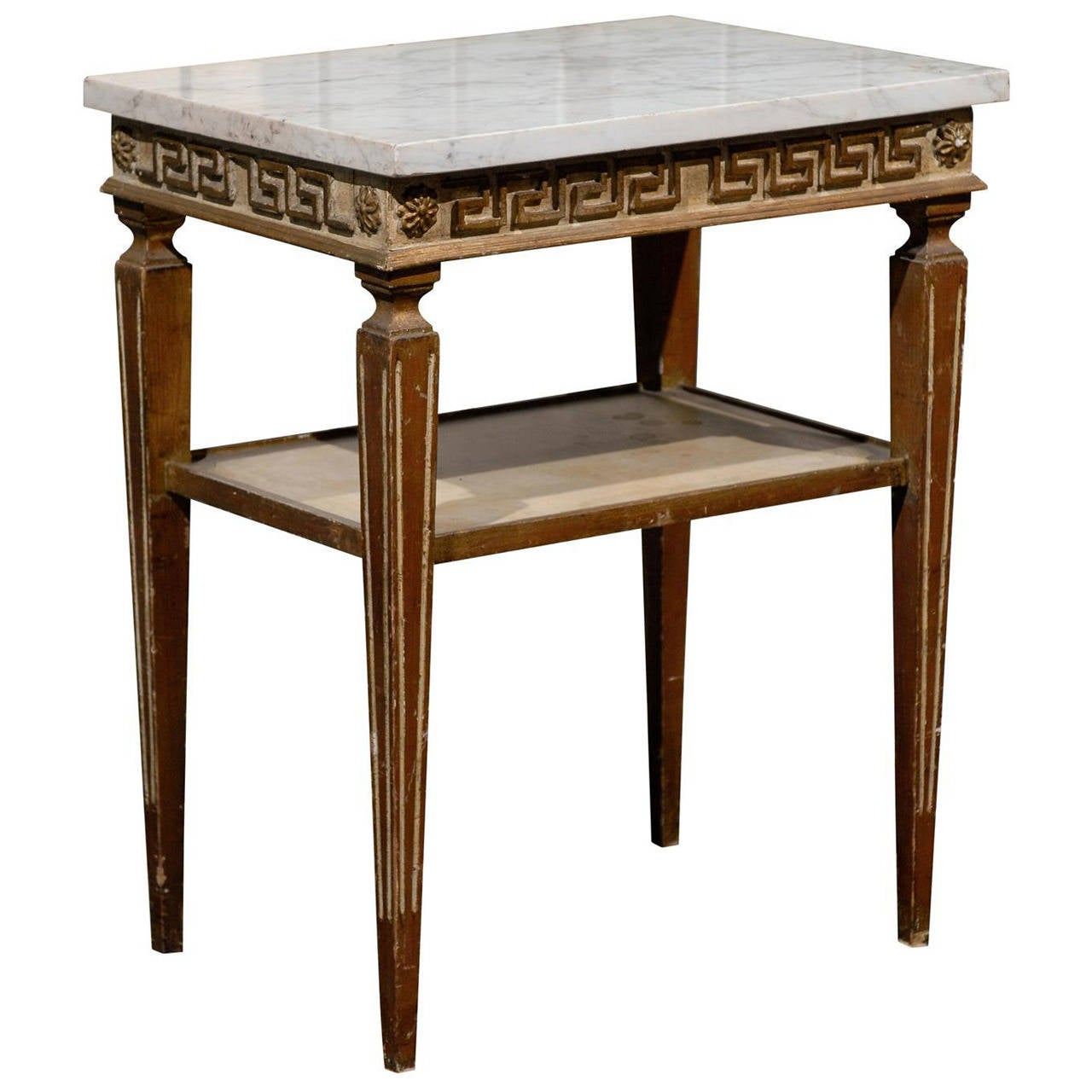 Italian Neoclassical Side Table With Greek Key Motif And White Marble Top 1