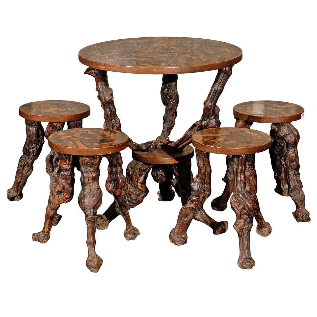 Set of European Grapevine Round Table and Four Accompanying Stools 1  sc 1 st  1stDibs & Set of European Grapevine Round Table and Four Accompanying Stools ... islam-shia.org