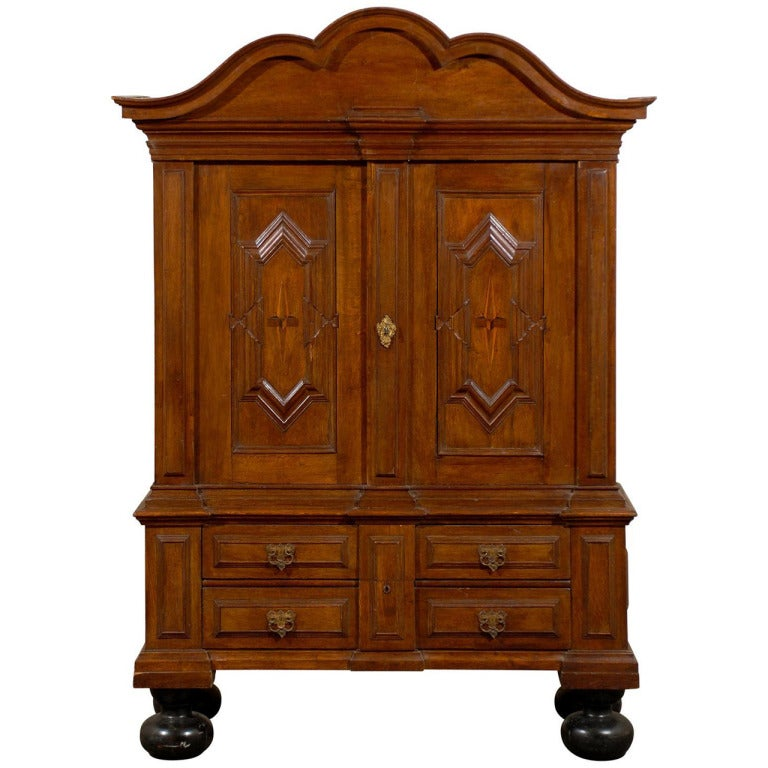 Late 18th Century Swedish Period Cabinet with Star Inlay