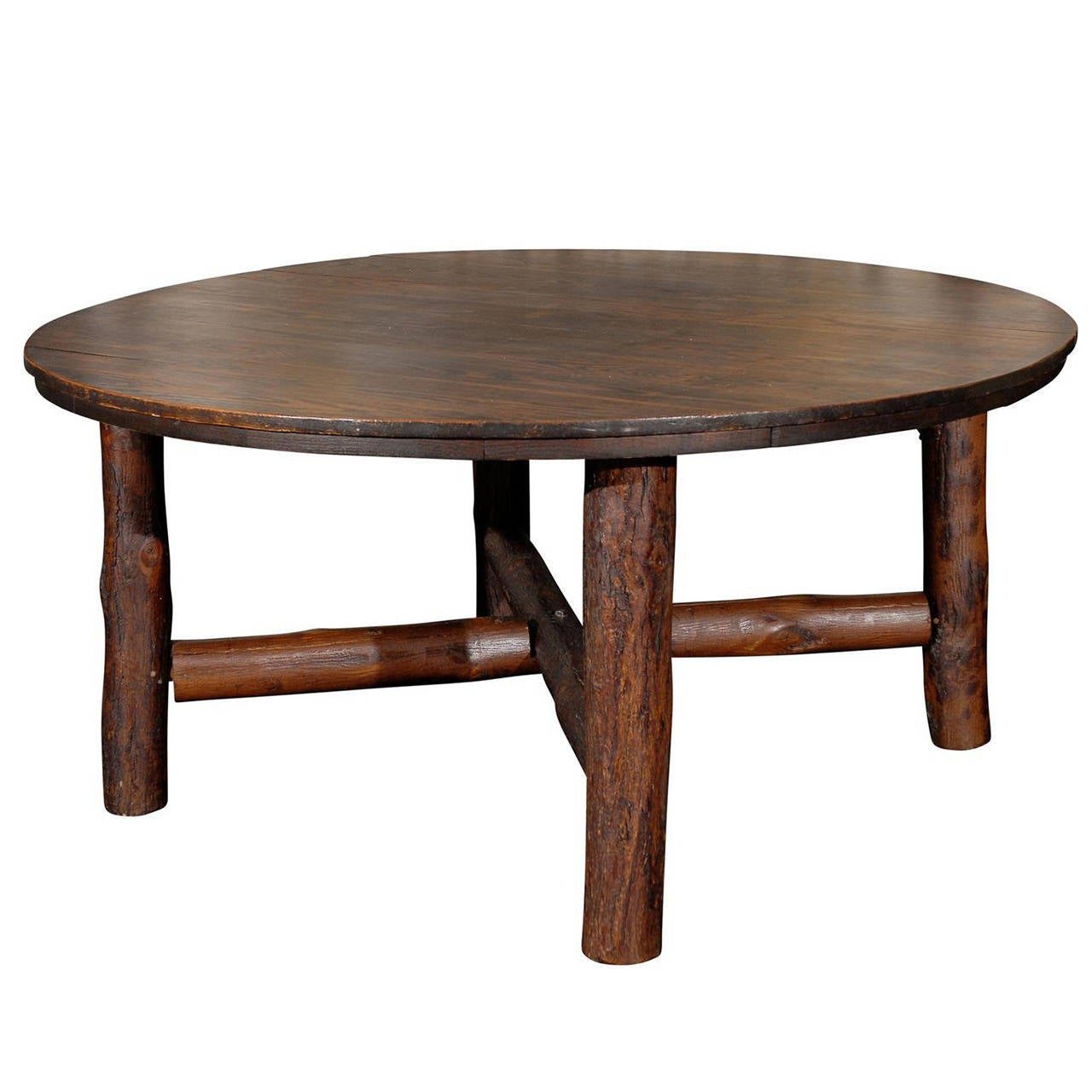 American 1920s Rare Design Old Hickory Round Table For Sale
