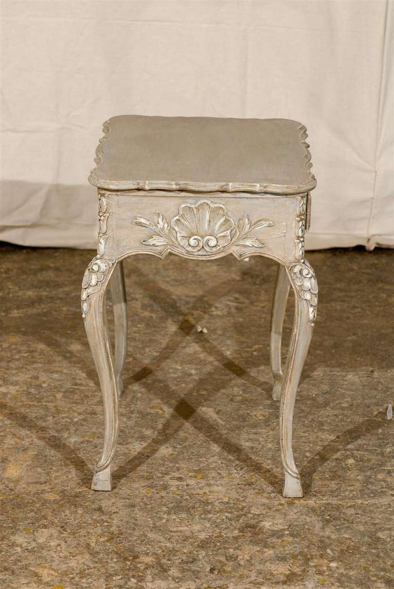 Small french richely carved and painted wood side table