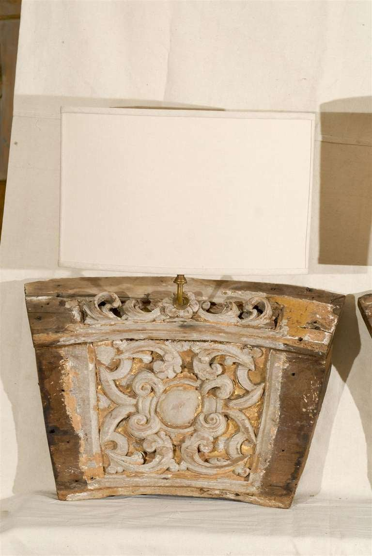 Painted A Single 19th Century Italian Wooden Fragment Made into a Sconce with Gilding For Sale