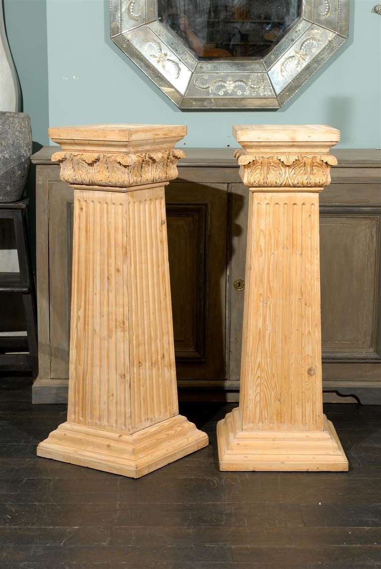 Square Wood Columns : Pair of square shapes stripped wood pedestals at stdibs