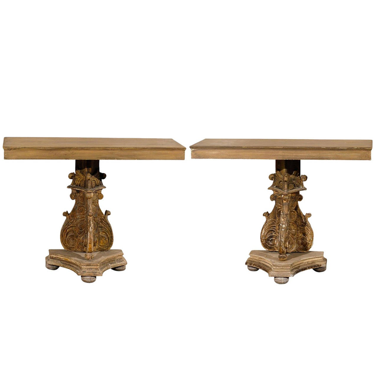 19th Century Italian Richly Carved Wood Console Table