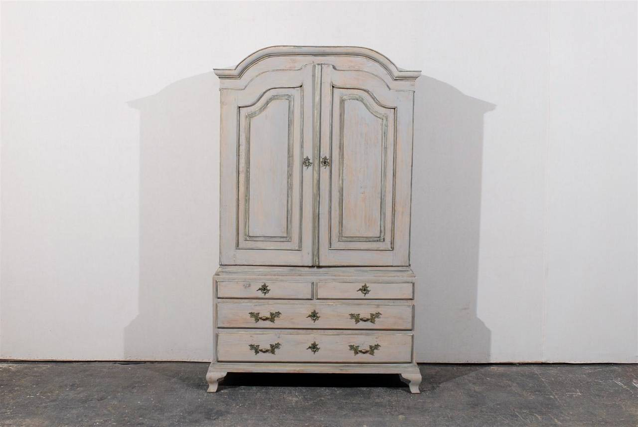 Late 18th Century Swedish Period Rococo Painted Wood Cabinet In Good Condition For Sale In Atlanta, GA