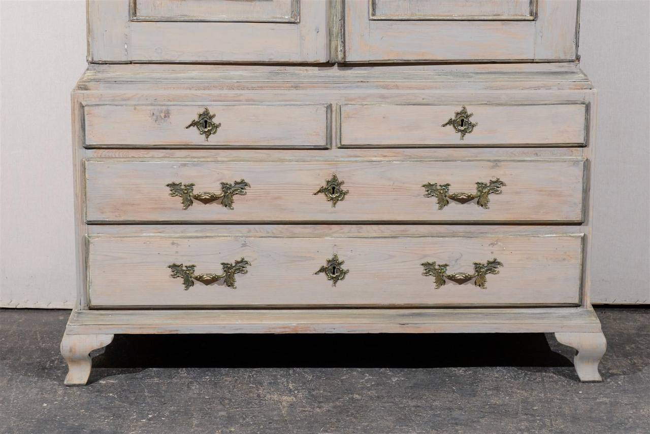 Late 18th Century Swedish Period Rococo Painted Wood Cabinet For Sale 5
