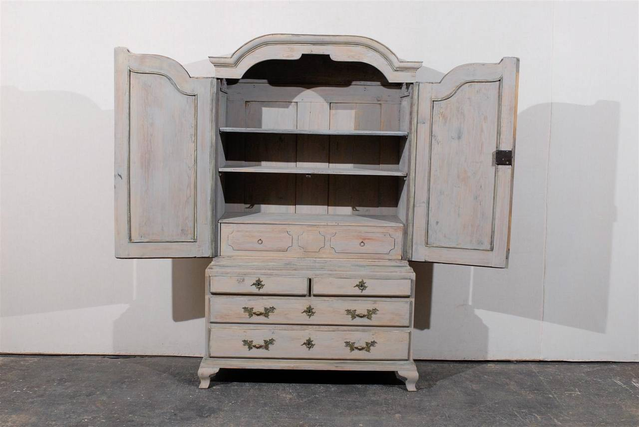 Late 18th Century Swedish Period Rococo Painted Wood Cabinet For Sale 2