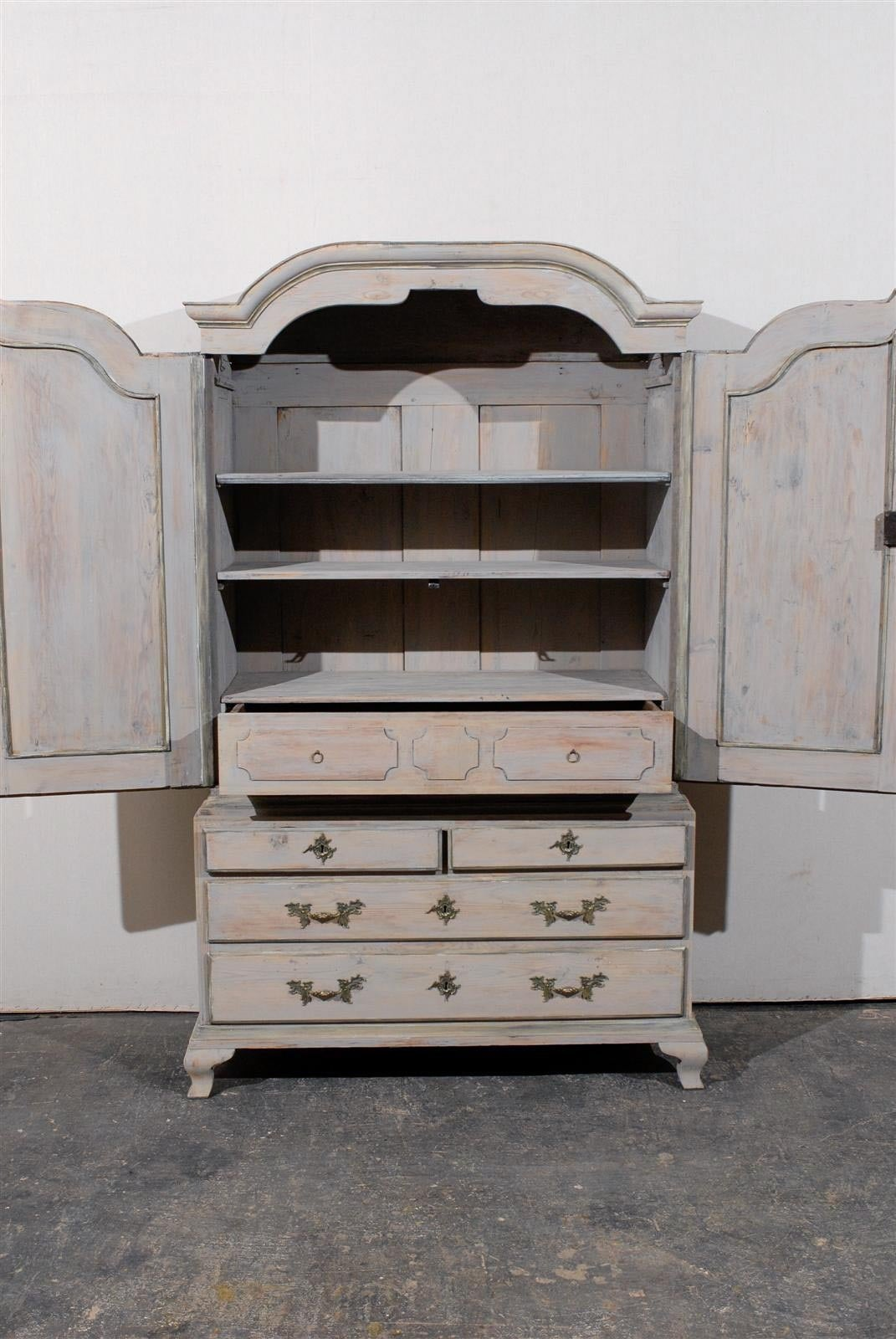 Late 18th Century Swedish Period Rococo Painted Wood Cabinet For Sale 1