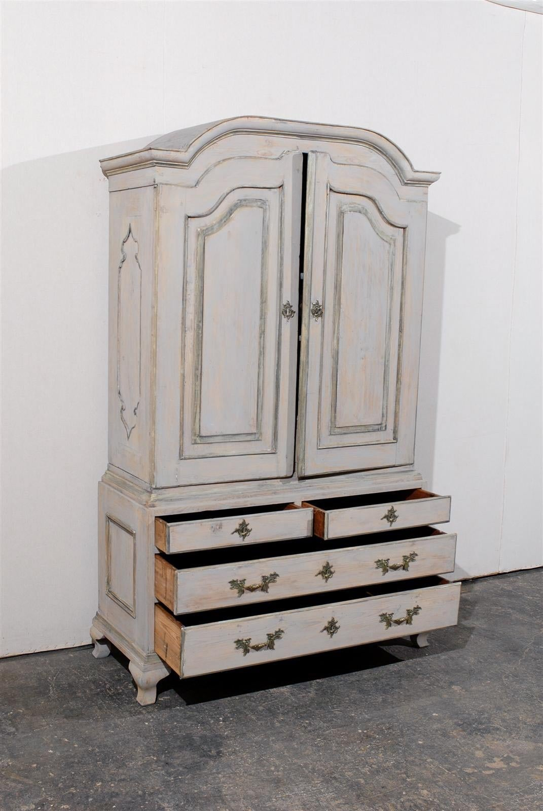 18th Century and Earlier Late 18th Century Swedish Period Rococo Painted Wood Cabinet For Sale