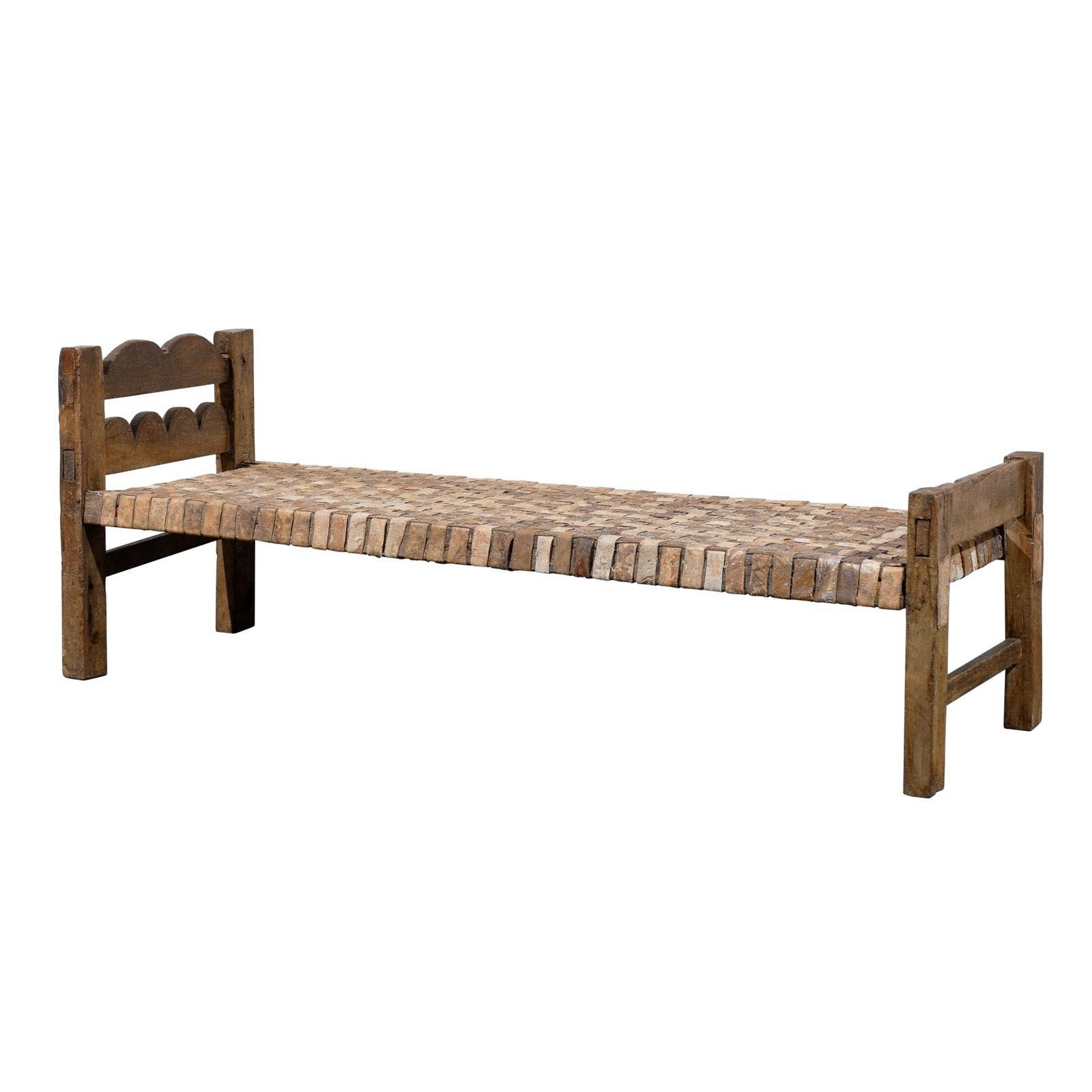 Brazilian Wooden Bench or Daybed with Cow Hide Seat