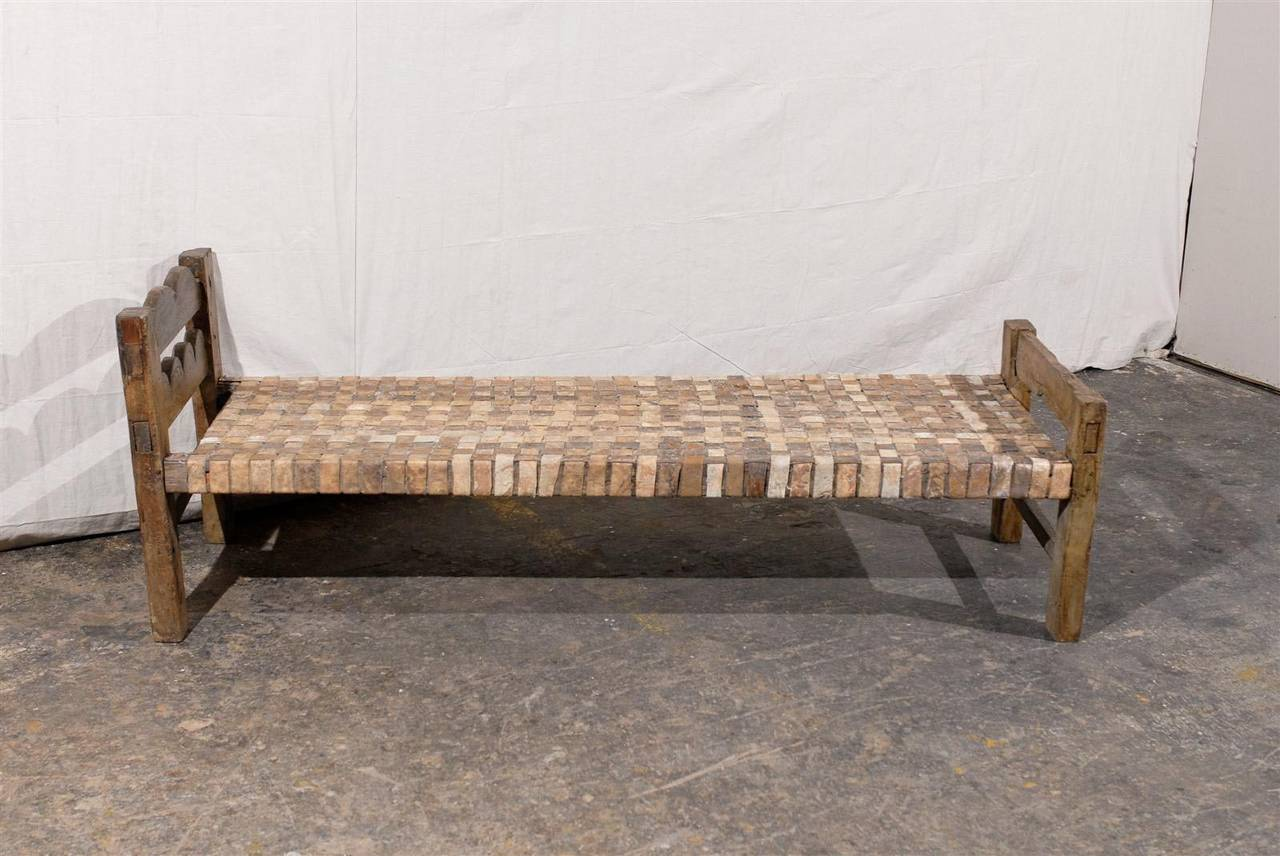 Brazilian Wooden Bench Or Daybed With Cow Hide Seat For