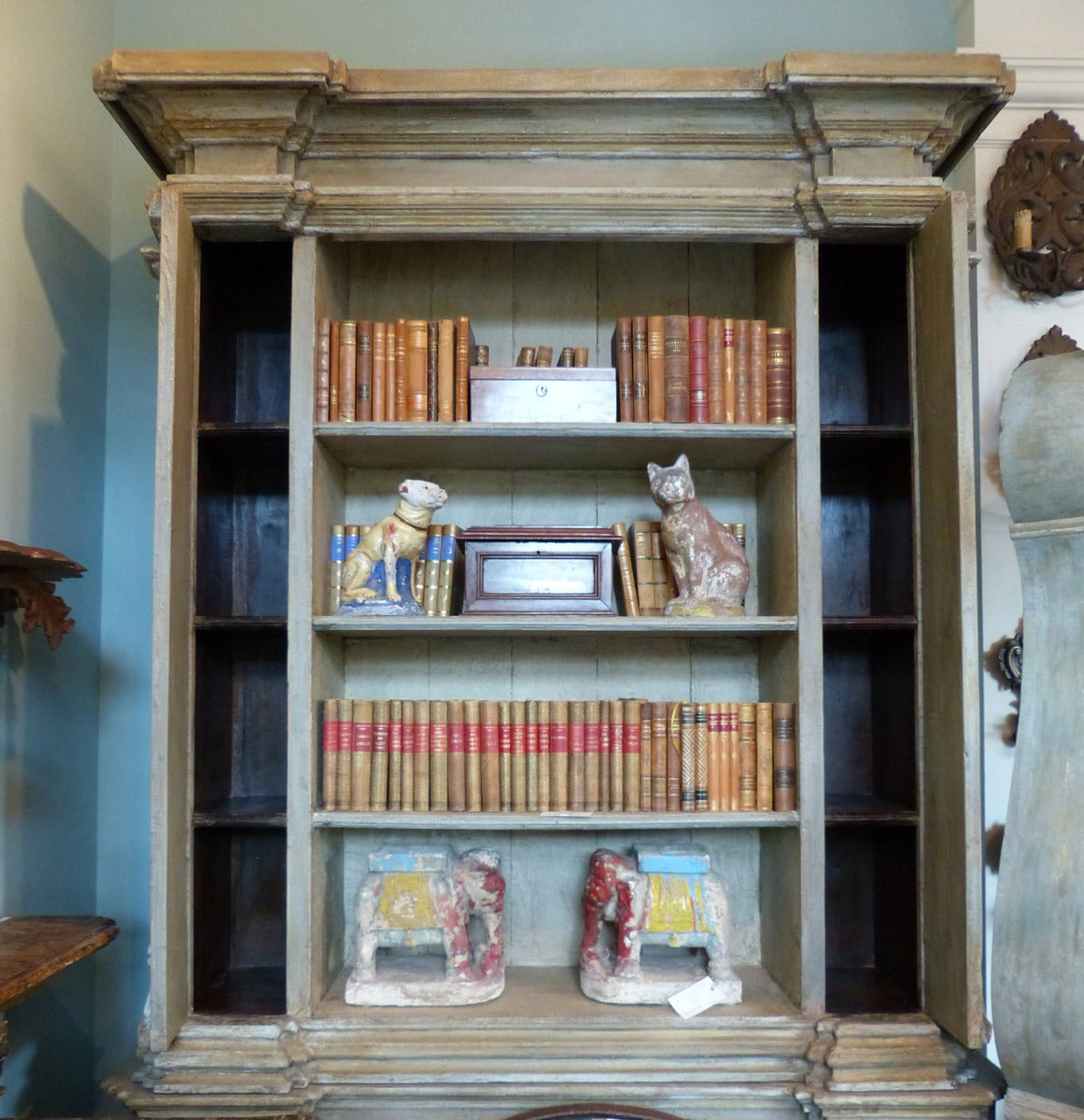 Gorgeous Painted Wood Bookcase With Two Lower Doors At 1stdibs. Full resolution‎  picture, nominally Width 1161 Height 1200 pixels, picture with #664A3A.