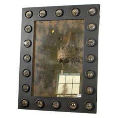 Rectangular Mirror with Black Metal Frame and Bullseye Surround