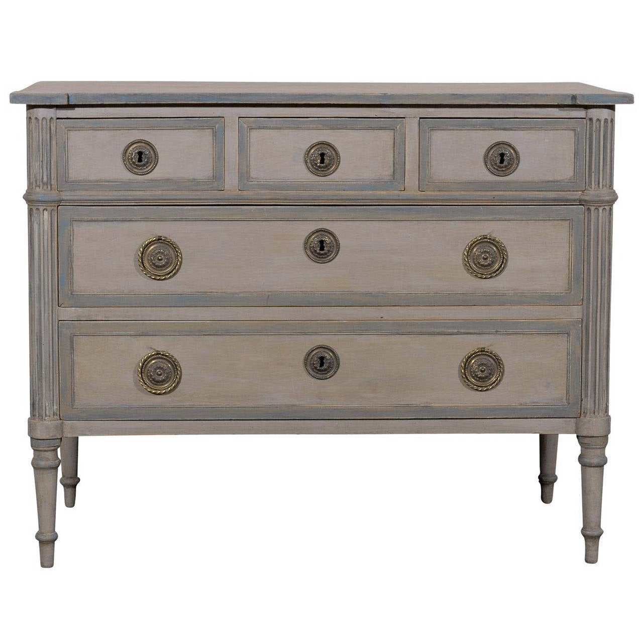 19th Century French Five Drawer Painted Wood Chest For Sale At 1stdibs. Full resolution‎  snapshot, nominally Width 1280 Height 1280 pixels, snapshot with #4E5D6B.