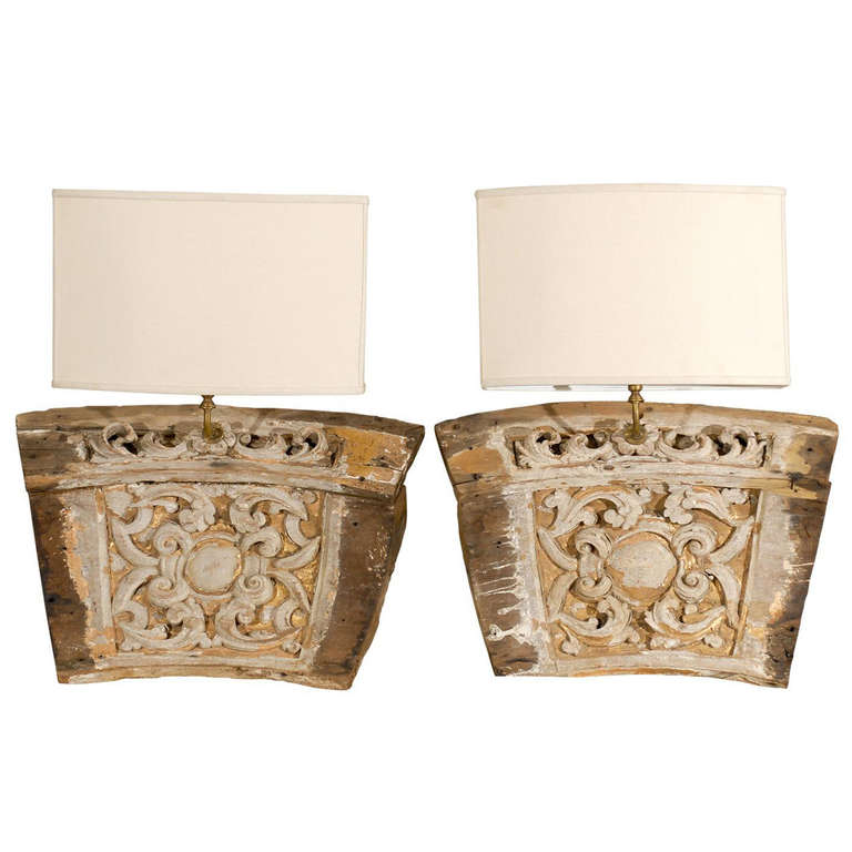 A Single 19th Century Italian Wooden Fragment Made into a Sconce with Gilding For Sale