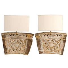 A Single 19th Century Italian Wooden Fragment Made into a Sconce with Gilding
