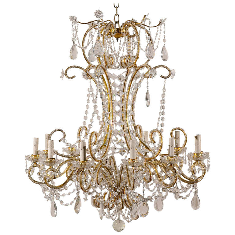Italian Vintage Twelve-Light Crystal Chandelier with Beaded and Scrolled Arms