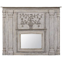 19th Century French Painted Wood Trumeau Mirror with Floral Carving