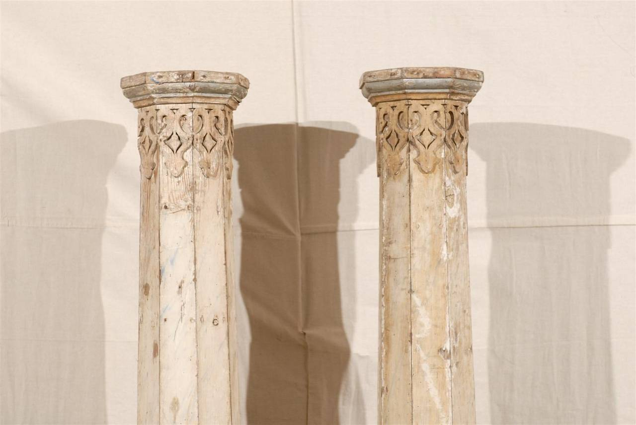 Carved A Pair of 19th Century European Slender Wooden Columns with Delicate Decor